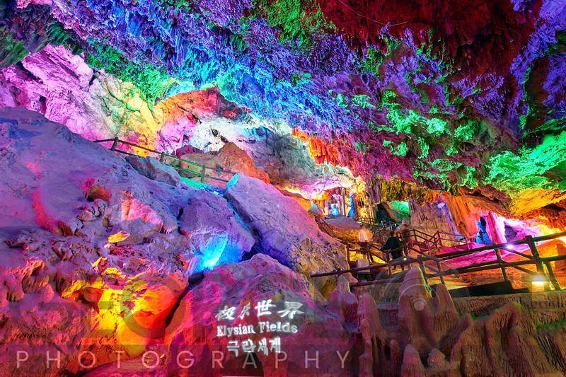 Elysian Fields, Illuminated Karst Cave, Zhashui County, Shaanxi, China