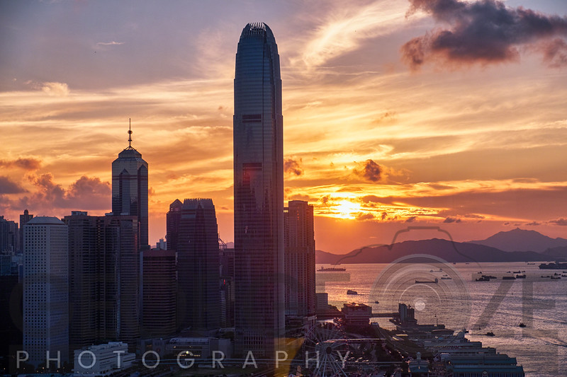 Skyscrapers of the International Commerce Center at Sunset, Hong Kong