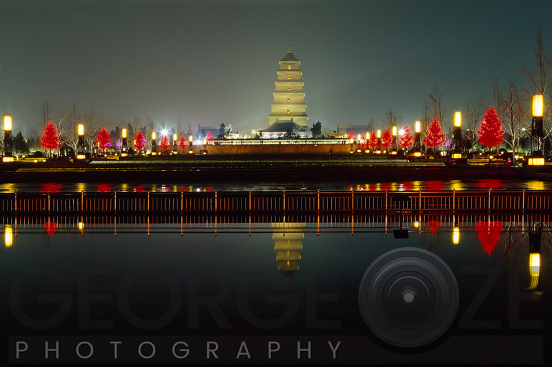 The Wild Goose Pagoda Illuminated at Night, Xi an City, Shaanxi Province, China