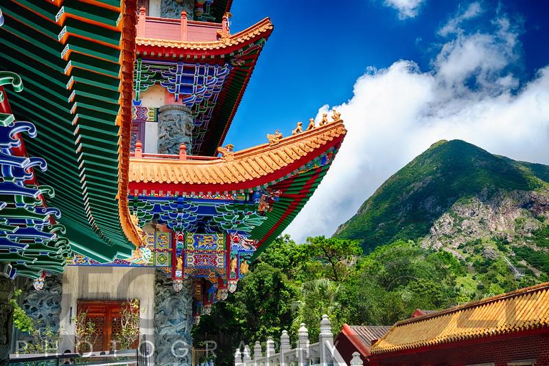 Colorful Roof Details of the Po Lin Monastery, Lantau Island, Hong Kong