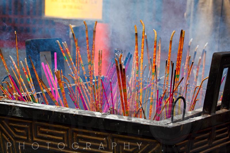 Close Up View of Incense Sticks Burning, Lama Temple, Beijing, China