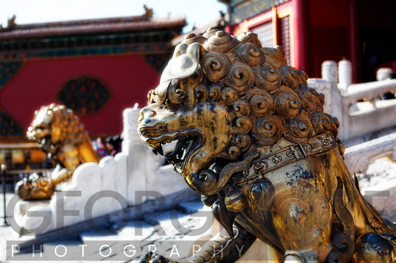 Guardian Lion Sculpture at the Gate of Heavenly Purity, Forbidden City, Beijing, China