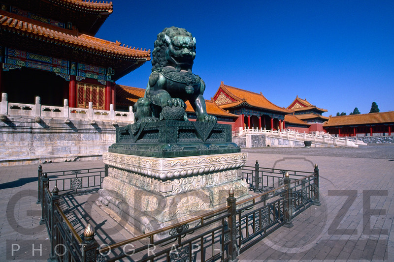 Chinese Male Imperial Guardian Lion Sculpture in the Forbidden City, Beijing, China