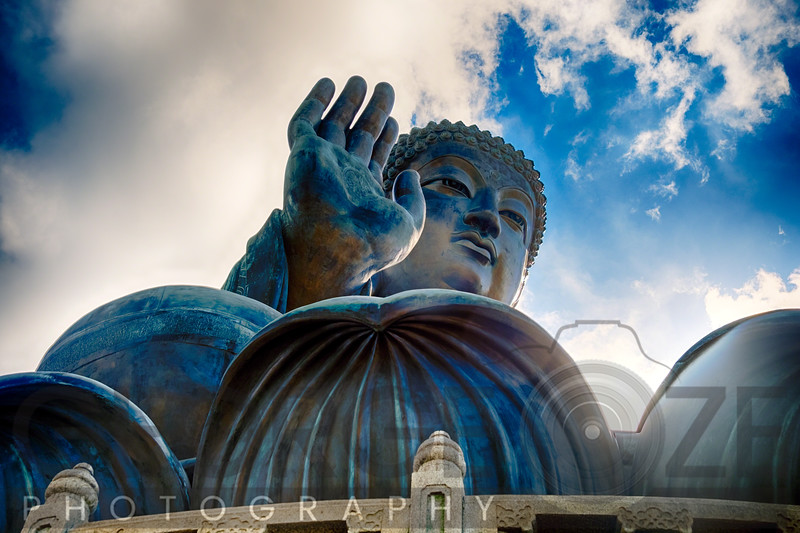 Imposing View of the Tian Tan Buddha Statue, Lantau Island, Hong Kong, China