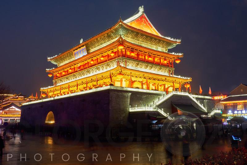 "Drum Tower of Xi""an Illuminated at Night"