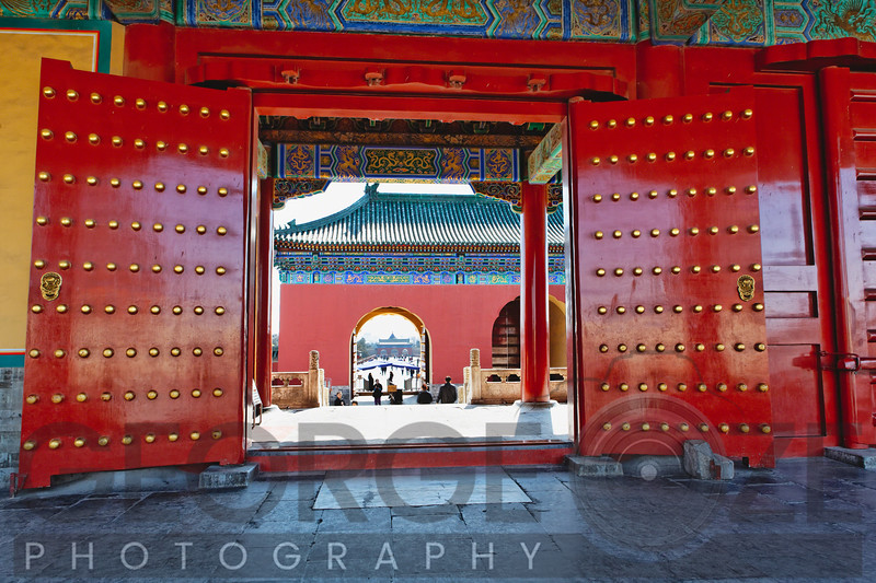 Red Gates with Lucky Number of Studs, Temple of Heaven, Beijing, China