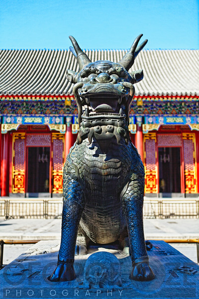 Bronze Sculpture of a Qilin a mythical Hooved Chinese chimerical creature <br /> in front of The Hall of Benevolence and Longevity