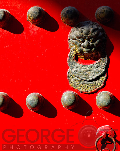 Close Up View of a Gate with Handle and Studs, Temple of Heaven, Beijing, China