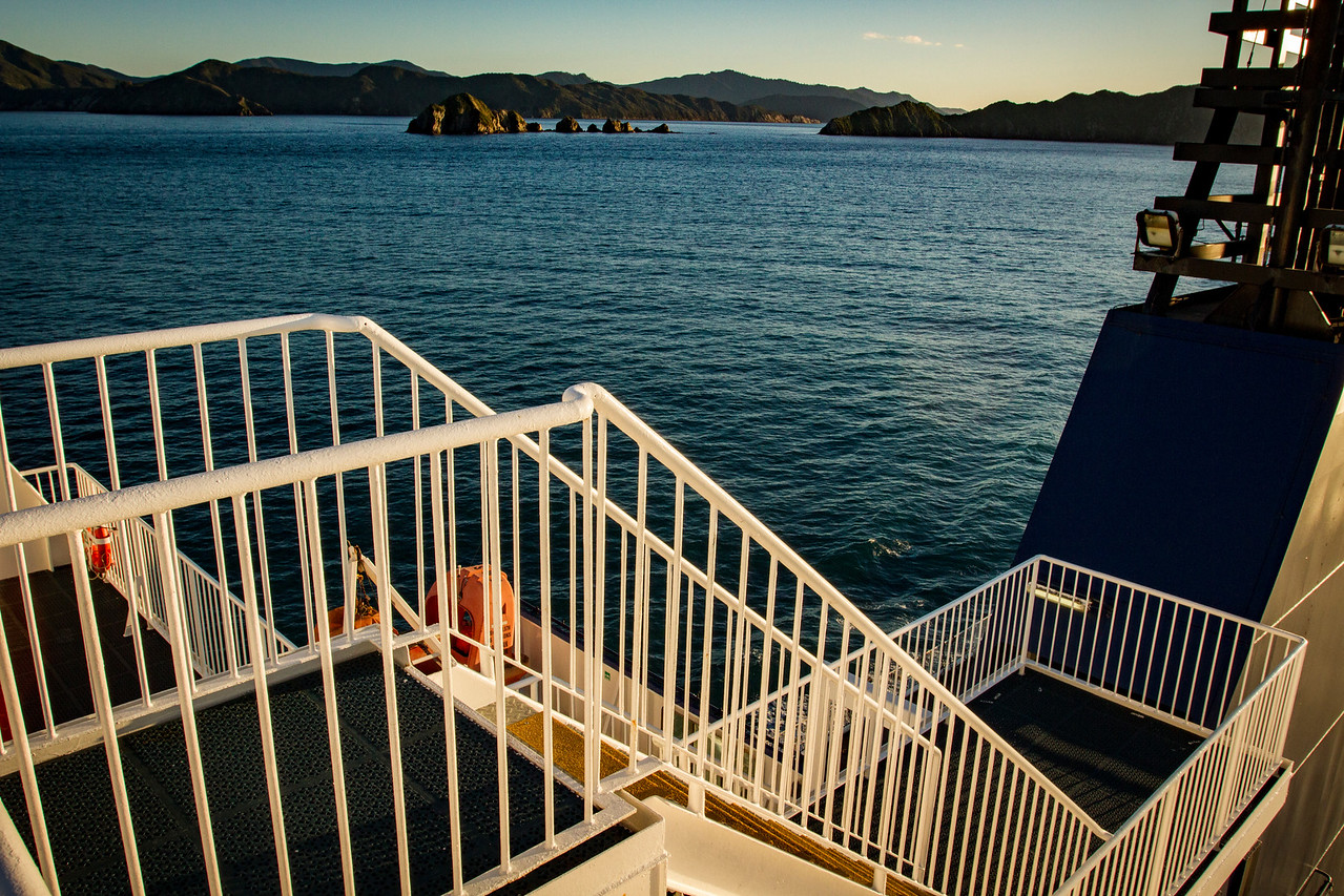 All aboard the ferry to Wellington and the North Island of NZ