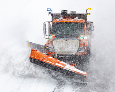 A close-up shot of one of the Lakeville MNDOT station's trucks. I-35 Southbound lane looking north at 195th St; Lakeville