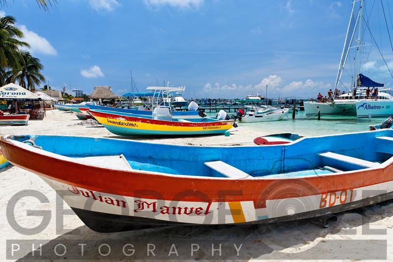 North Beach Scenic with Colorful Fishing Boats,  Isla Mujeres, Quintana Roo, Yucatan, Mexico
