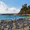 Parasols and Lounge Chairs Lined Up on the Beach, Monterosso Al Mare, Cinque Terre, Liguria, Italy