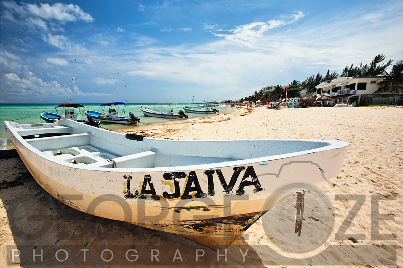 Close Up View of a Boat on a Beach, Playa Del Carmen, Mexico