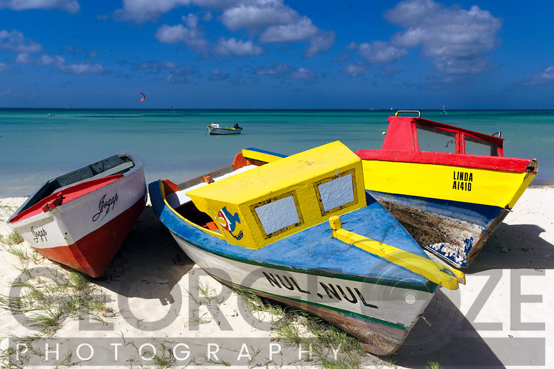Three Colorful Fishing Boats on the Dunes, Aruba