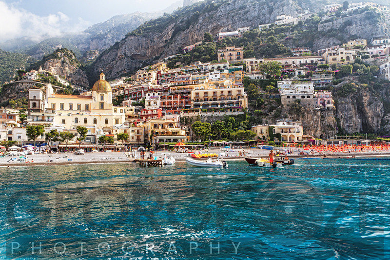 Low Angle View of Positano from The Sea, Amalfi Coast, Campania, Italy