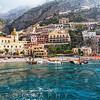 Low Angle View of Positano from The Sea, Amalfi Coast, Campania, Italy