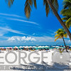 Beach Scene with Colorful Beach Umbrellas, Playa Norte, Isla Mujeres, Quintana Roo, Mexico
