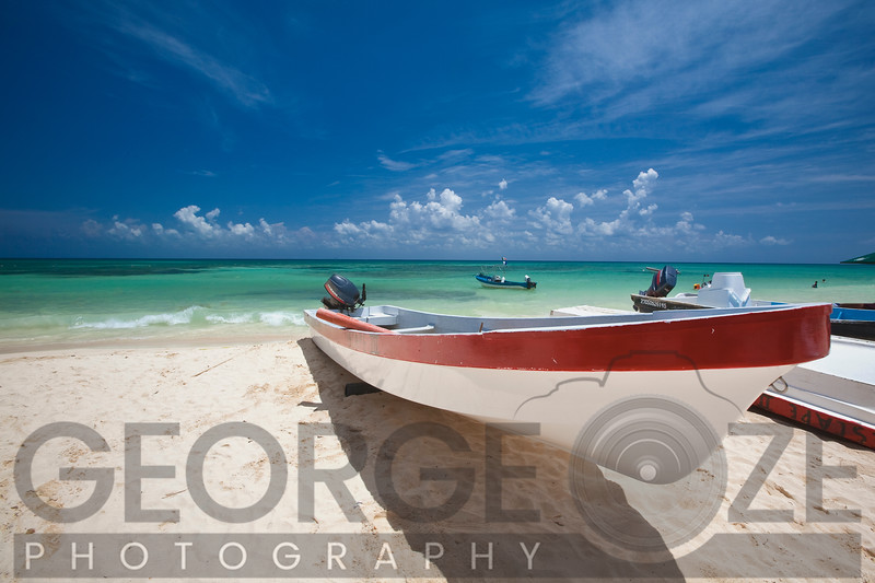 Playa del Carmen with a Red and White Fishing Boat, Yucatan, Mexico