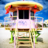 Low Angle Frontal View of a Lifeguard Station, South Beach,Miami, Florida