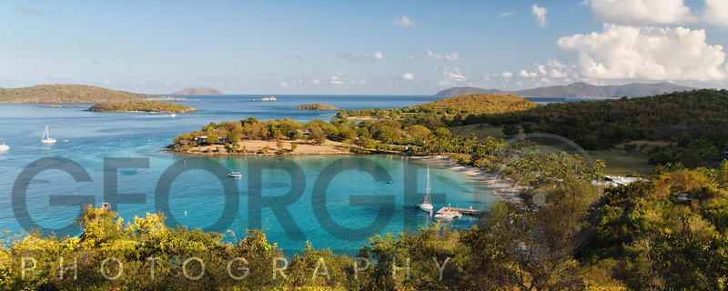 High Angle Panoramic View of Caneel Bay, St John, US Virgin Islands
