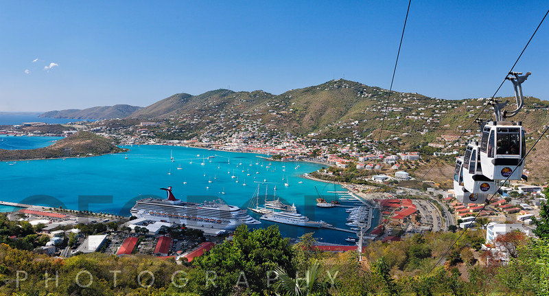 High Angle View of a Harbor, Paradise Point, Charlotte Amalie,St Thomas, US Virgin Islands