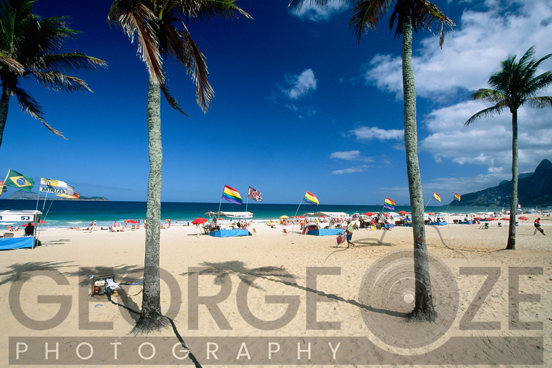 Ipanema Beach with Rainbow Flags, Rio de Janeiro, Brazil