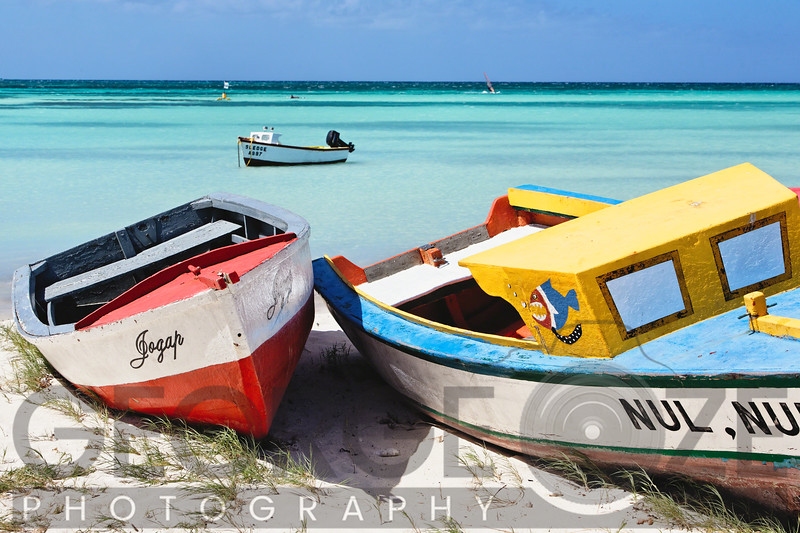 Colorful Traditional Fishing Boats on Eagle Beach, Aruba