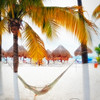 Beach View with a Hammock and Palapas, Playa Norte, Isla Mujeres, Mexico
