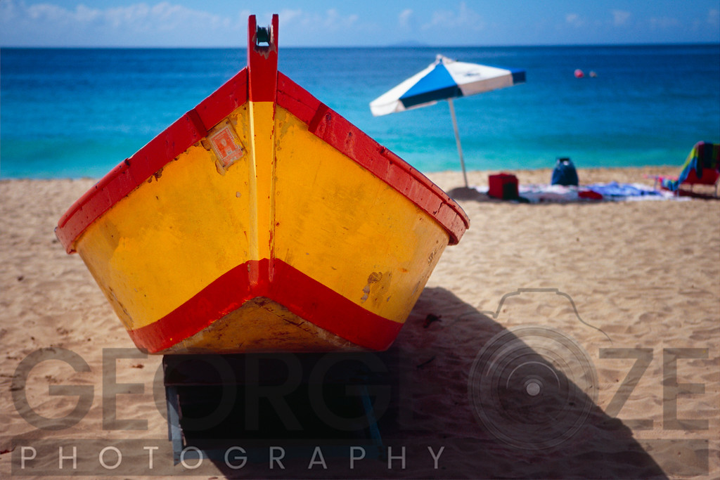 Close Up Frontal View of a Colorful Boat on a Caribbean Beach, Puerto Rico