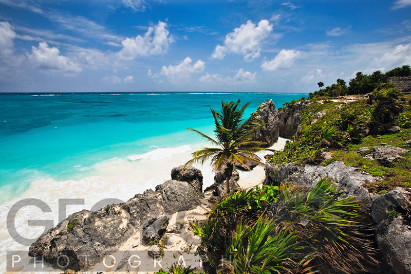 High Angle View of a Rocky Tropical Coastline, Tulum, Quintana Roo, Yucatan, Mexico