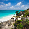 High Angle View of a Rocky Tropical Coastline, Tulum, Quintana Roo, Yucatan, Mexico