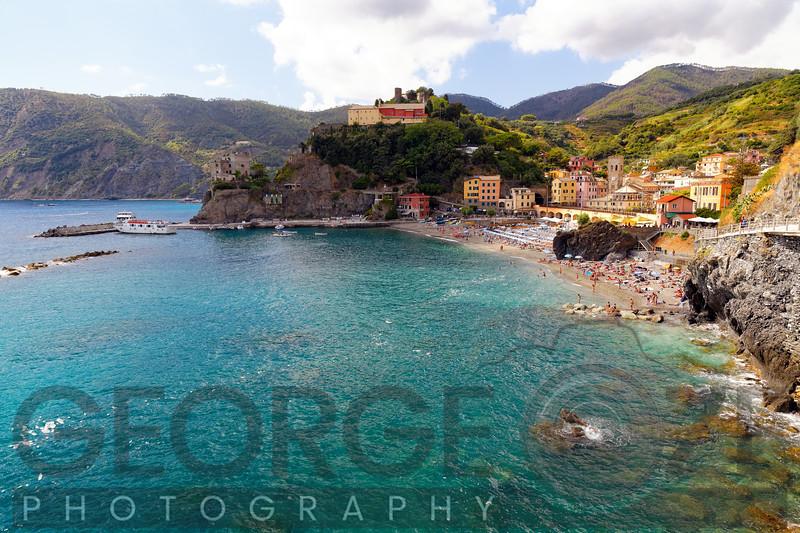 High Angle view of aCoastal Town, Monterosso Al Mare, Cinque terre, Liguria, Italy