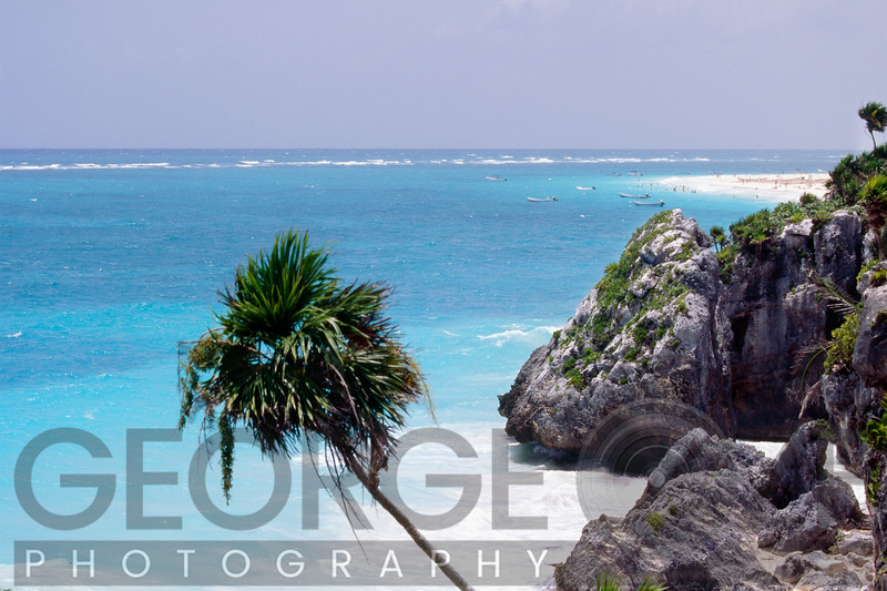 High Angle View of a Tropical Beach with a Rocky Shoreline, Tulum, Mexico