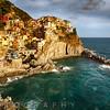 Afternoon Sun in Manarola Harbor and Town, Cinque Terre, Liguria, Italy