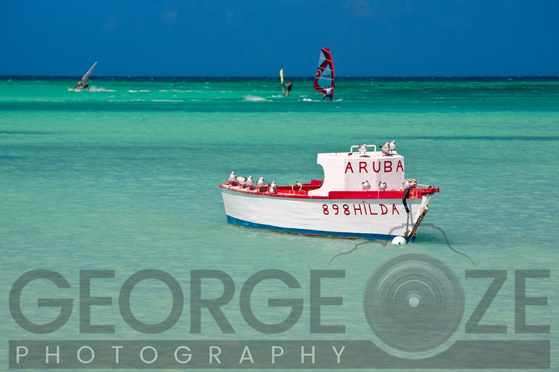 Moored Boat and Windsurfers,Eagle Beach Aruba
