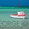 Moored Boat and Windsurfers,Eagle Beach Aruba