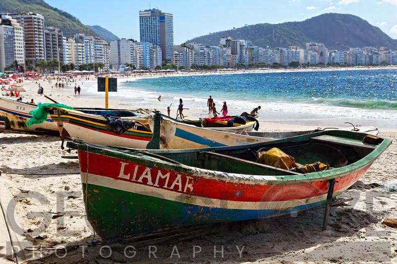 Old Fishing Boats on a Beach, Copacabana, Rio de Janeiro, Brazil