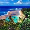 Ke'e Beach Viewed from The Kalalau Trail, North Shore Kauai, Hawaii