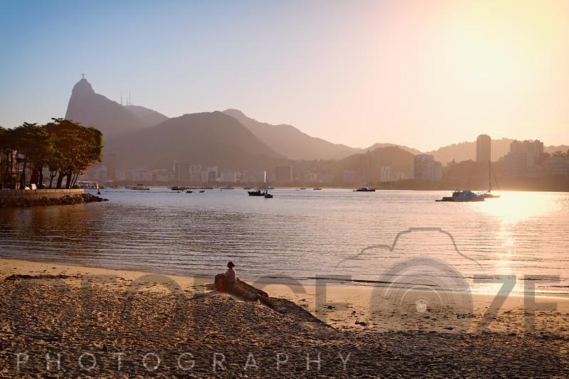 Sunset on Urca Beach, Rio De Janeiro, Brazil,