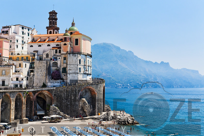 Coastal Town with Beach, Amalfi, Campania, Italy