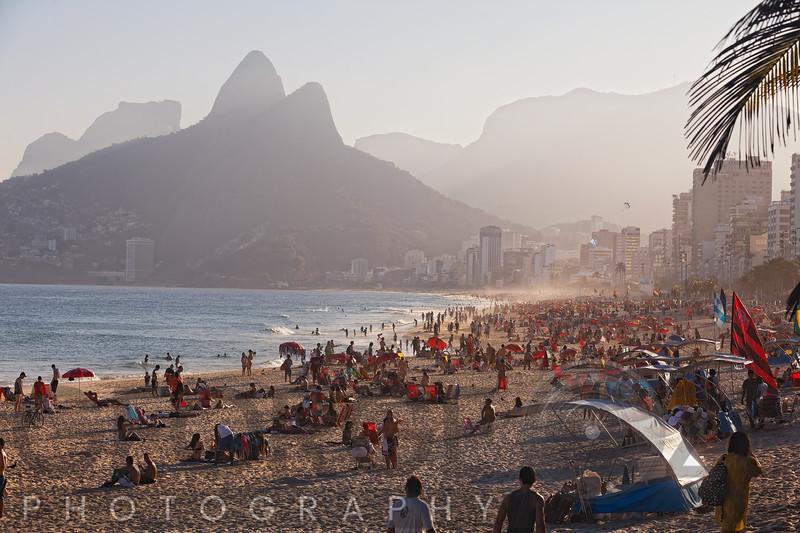 High Angle View of Ipanema Beach Crowded with People, Rio de Janeiro, Brazil