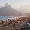 High Angle View of Ipanema Beach Crowded with People, Rio de Janeiro, Brazil