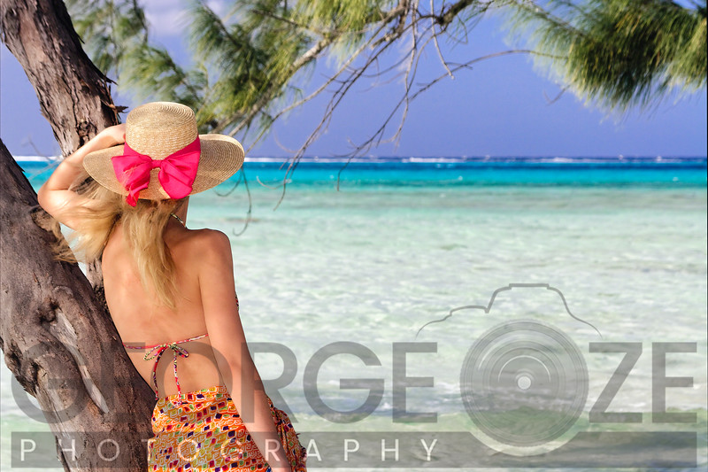 Young Woman Looking Out to the Caribbean Sea