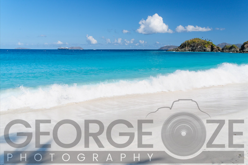 Gentle Waves on a White Sand Beach, Trunk Bay, St John, US Virgin Islands