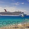 Beach View with a Cruise Ship, St Thomas, USVI