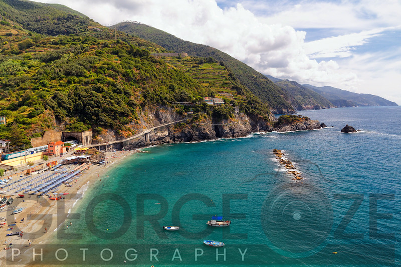 High Angle Virw of a Beach with Train Station, Monterosso, Cinque Terre, Liguria, Italy