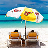 Relaxing Under a Beach Umbrella, Playa Norte, Isla Mujeres, Quintana Roo, Mexico
