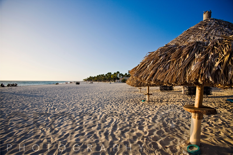 Sandy Beach with Palapa Umbrellas, Divi Village, Aruba