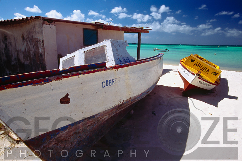Old Fishing Boats on The Shore, Aruba