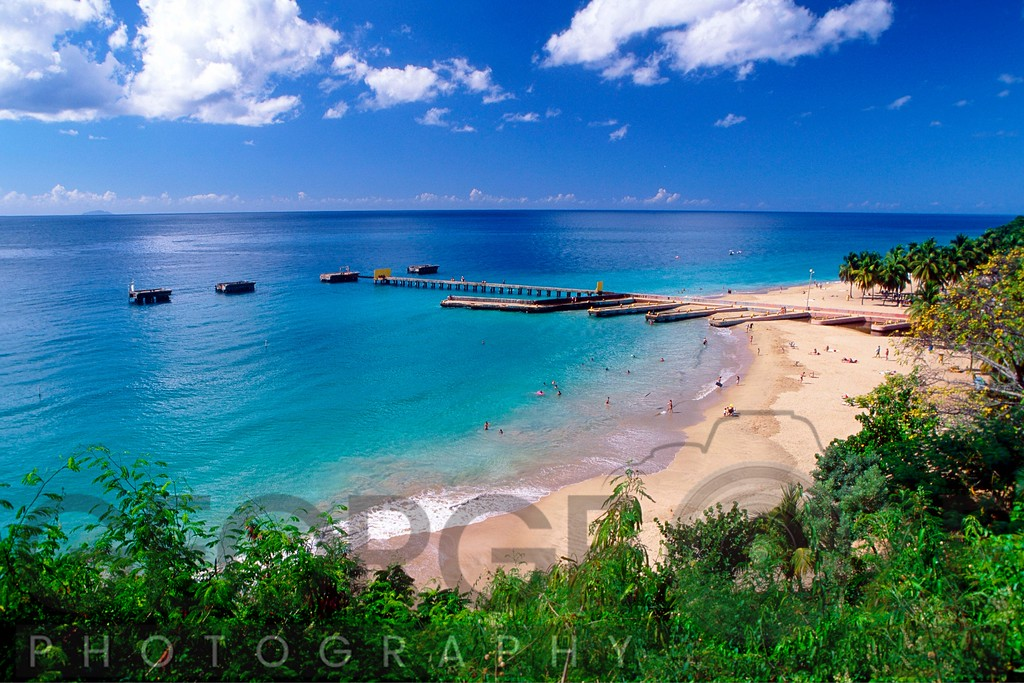 Aerial View of a Beach with a Long Pier, Aguadilla, Puerto Rico